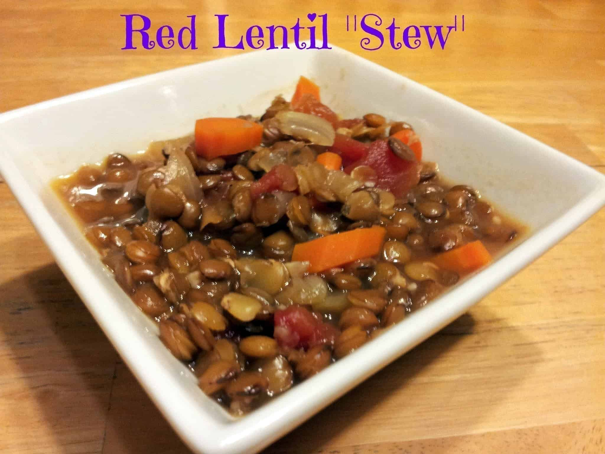 Bowl of vegan red lentil stew