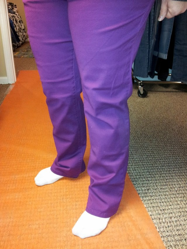 Example of purple Lee Jeans tried on