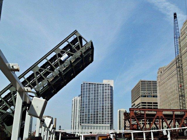 Chicago Bridge goes up explains our docent