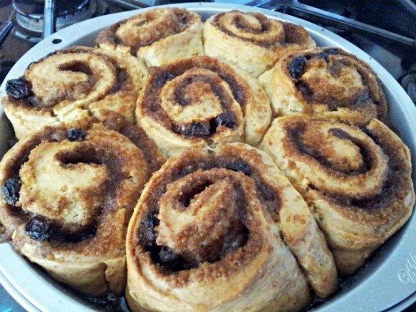 Cinnamon rolls baked golden brown