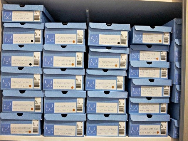 Jockey Bra store shoeboxes