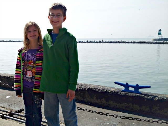 Mister Man and Little Miss on Chicago's lakefront