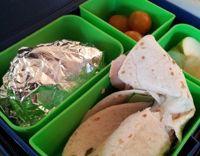 Laptop Lunch bento box system in use