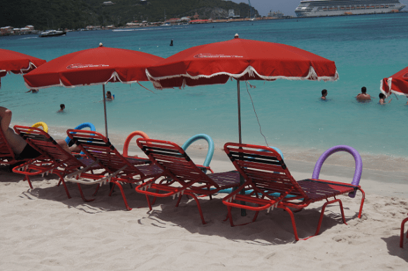 chair and umbrella packages on St Maarten