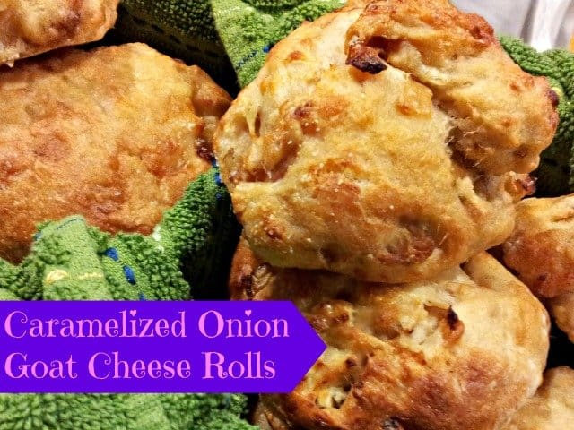 Goat cheese and caramelized onion rolls