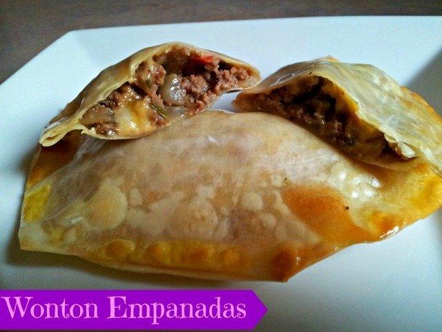 Wonton empanadas ready to eat