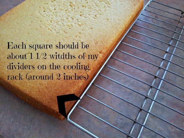 Use your cooling rack as a guide when cutting your cake