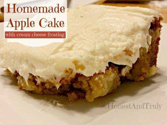 Slice of homemade apple cinnamon cake