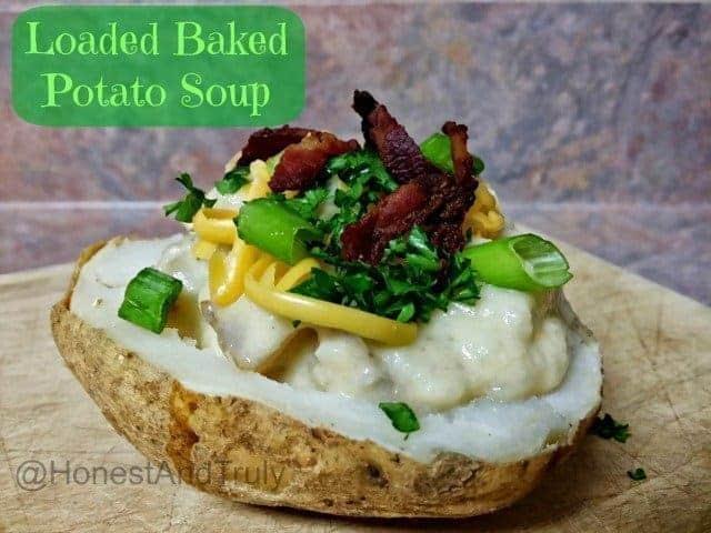 Loaded baked potato soup in a baked potato bowl