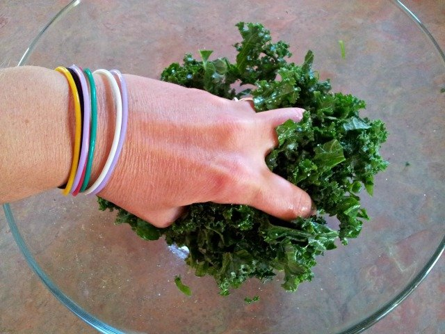 Massage the kale with your hands to get it to soften