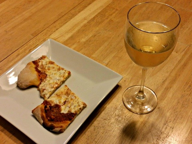 Drinking Moscato d'Asti with my homemade pizza