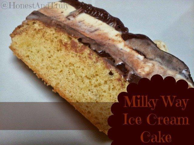 Slice of Milky Way Ice Cream cake ready to eat