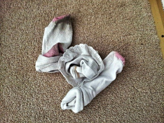 Balled up dirty socks