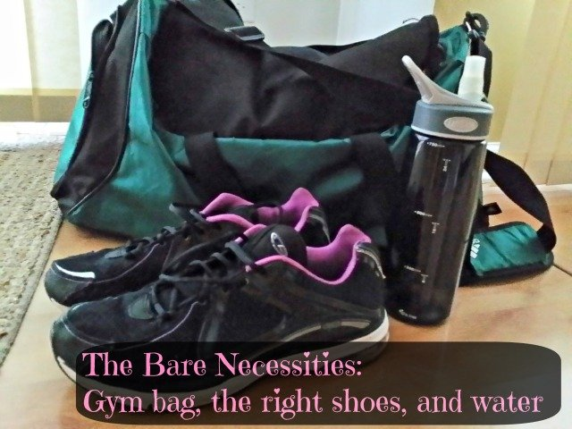 gym bag, good shoes, water bottle