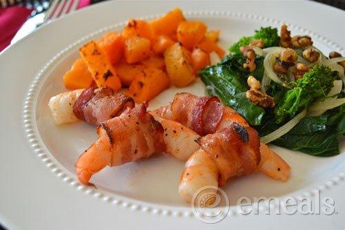Plate of gorgeous shrimp dinner