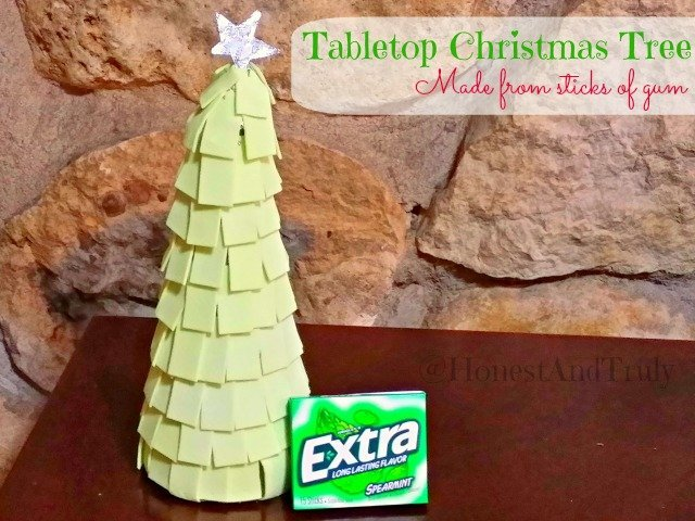 Christmas Tabletop Tree made from sticks of gum