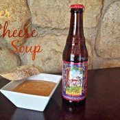 Beer cheese soup in a bowl