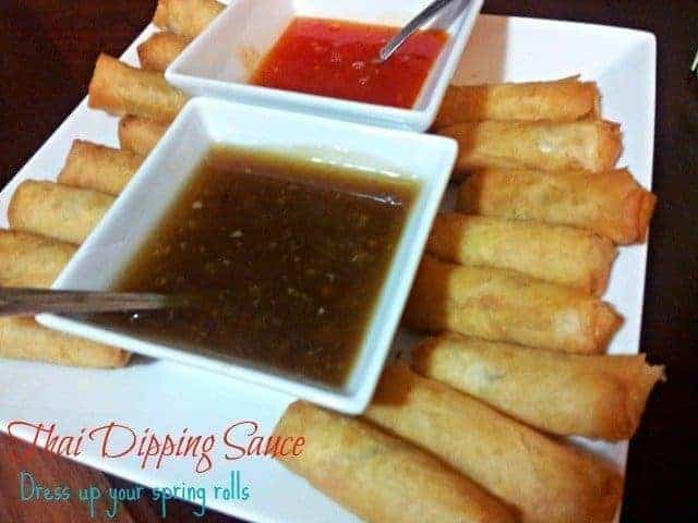 Spring rolls with two kinds of dipping sauce