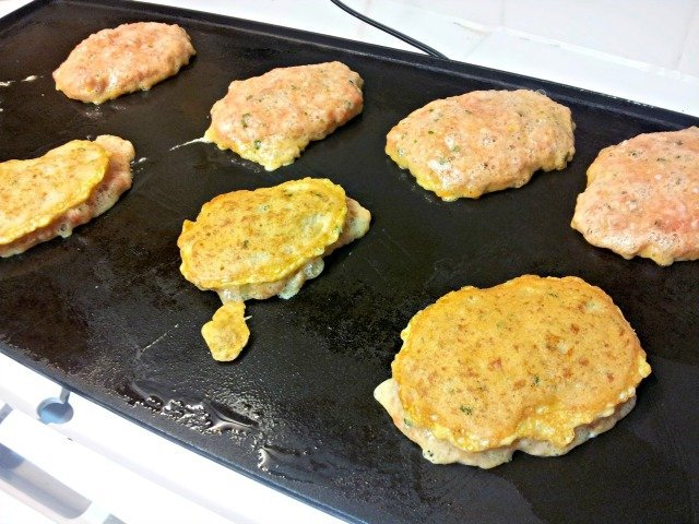 Flip your meatcakes once they've browned on one side