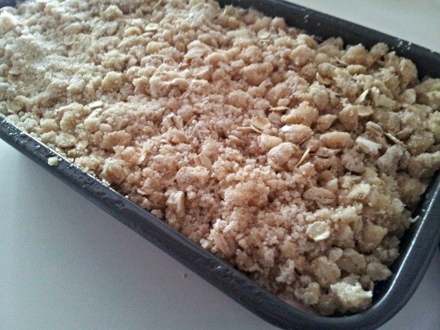 Cherry streusel quick bread is ready for the oven