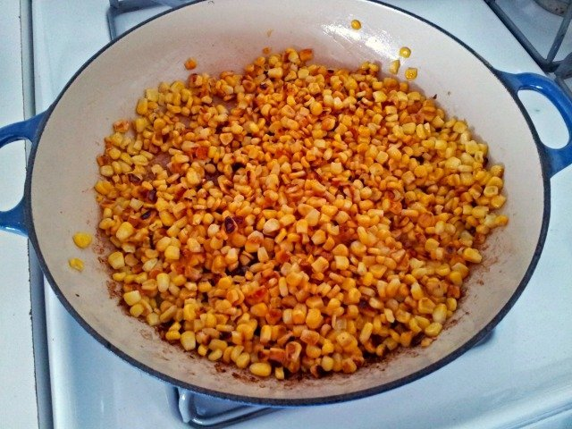 Once the corn is roasted, it takes on a gorgeous color and adds so much flavor