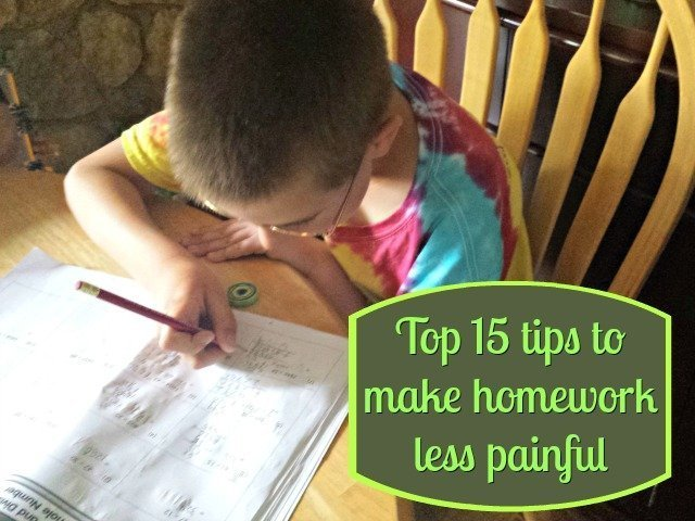 15 tips to make homework less painful - for you and for your child. These top 15 ways are easy to implement and make a real difference in reducing frustration and improving focus
