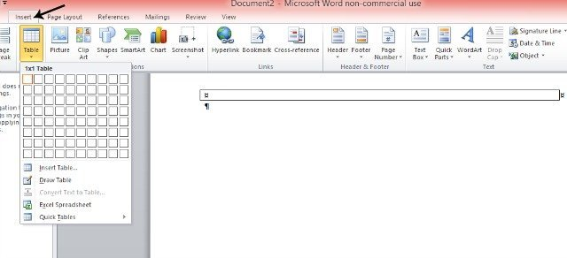 How to insert a table in Microsoft Word