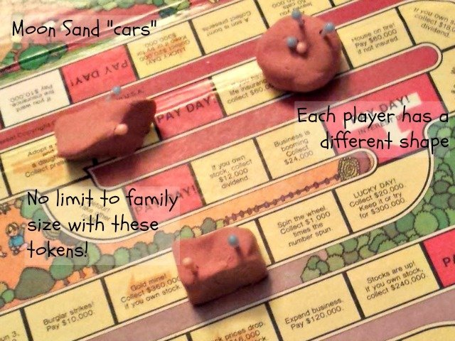Lost your game pieces? Use Moon Sand or Silly Putty to make your own tokens!