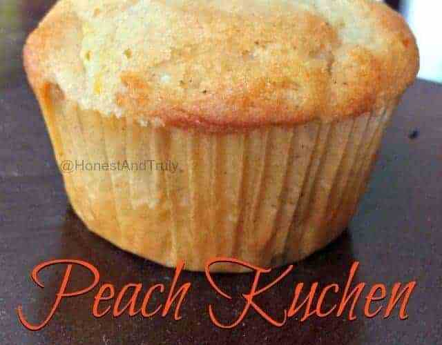 Homemade peach muffin recipe based off the amazing peach kucken dessert using fresh peaches and a whole lot of awesome