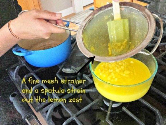 Strain out the lemon zest to finish off your lemon curd