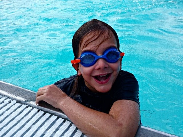Happy child with goggles