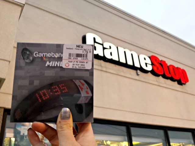 Gameband package in front of Gamestop