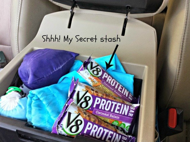 Secret stash of V8 protein bars