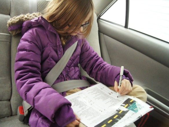 Playing road trip scavenger hunt