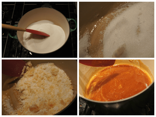 Stages of melted sugar for salted caramel sauce