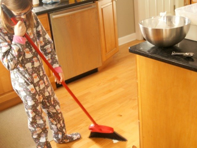 Baking with kids means there's often a mess to sweep up