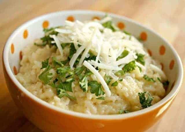 bowl of parmesan risotto