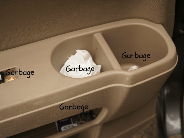 Garbage everywhere in the backseat