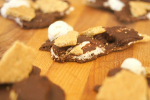 Pieces of s'mores bark