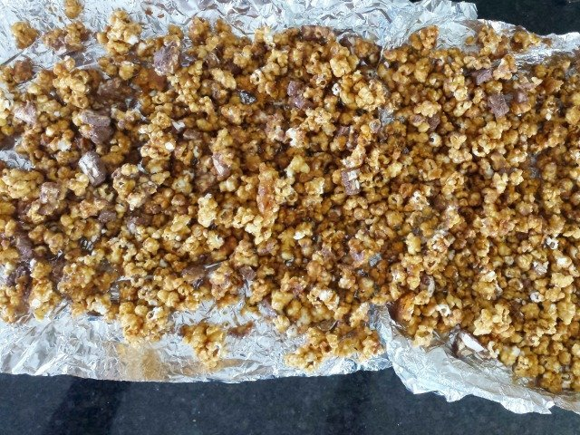 SNICKERS popcorn ready for drizzle