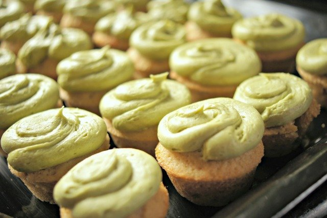 Beautiful green tea cupcakes with matcha frosting