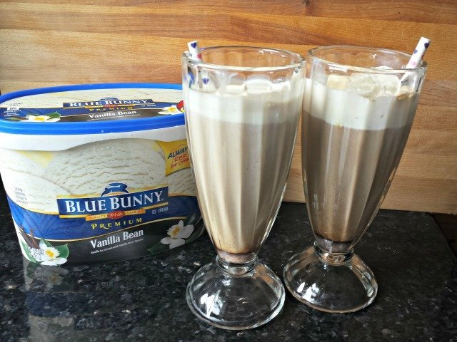 Blue Bunny iced coffee floats featuring homemade spiced creamer