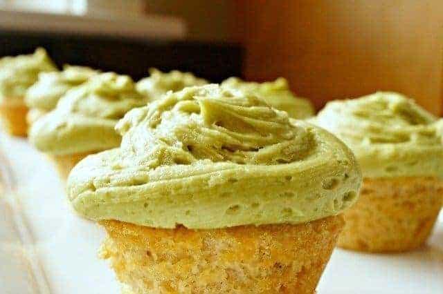Green tea cupcakes with matcha frosting closetup
