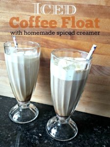 Iced coffee float recipe with a homemade spiced creamer bonus recipe