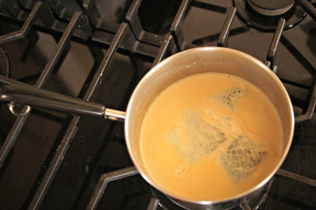 Milk steeped with green tea
