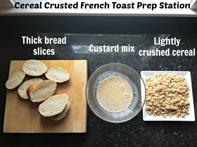Cereal crusted French Toast Prep Station