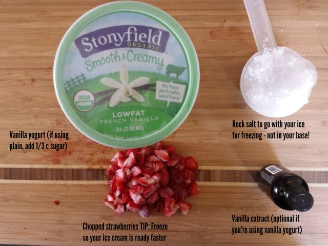 Ingredients for homemade strawberry frozen yogurt