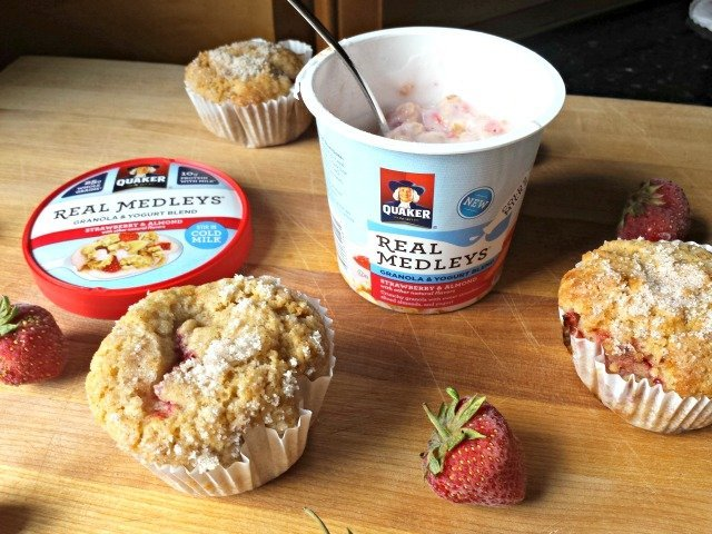 Quakser Real Medleys with homemade strawberry muffins recipe