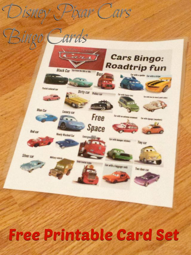 Disney Pixar Cars Bingo Cards Free Printable