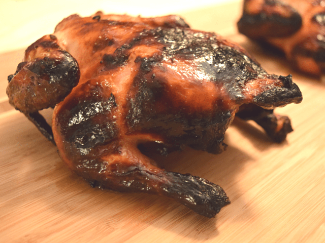 Freshly grilled orange ginger Cornish hens